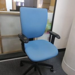 High Back Operator Chair with Adjustable Arms, Blue Fabric