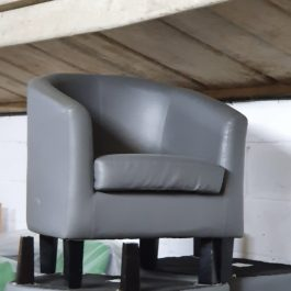 Reception Tub Chair – Grey Leatherette