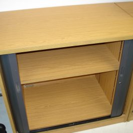 Desk Height Tambour Cupboard, Oak