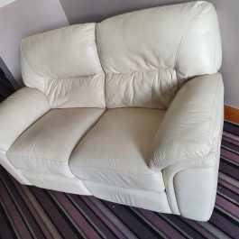 CREAM LEATHER TWO SEATER SOFA – RECLINER