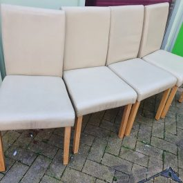 SET OF 4 ARMLESS DINING CHAIRS – CREAM