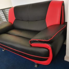 FUNKY TWO SEATER SOFA – BLACK/ RED FAUX LEATHER